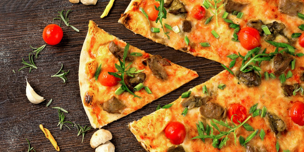 Pizza with herbs mushrooms