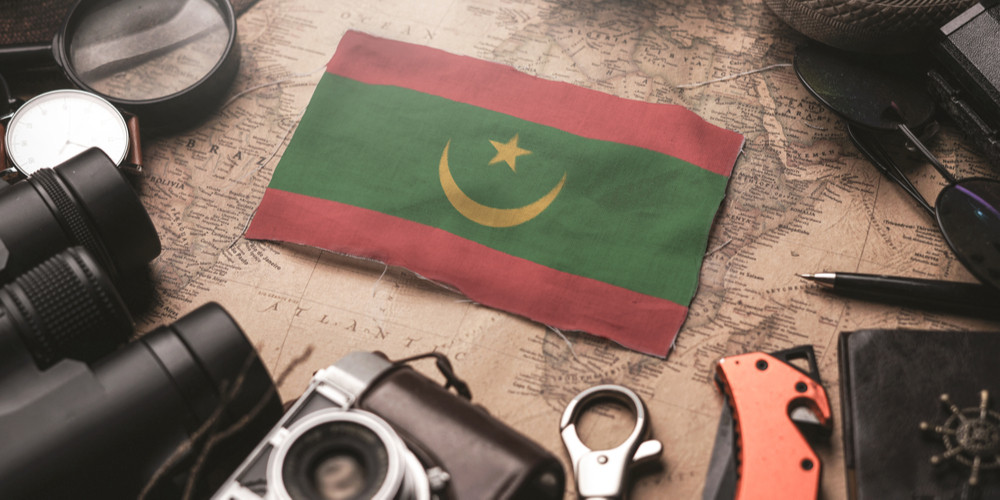 Mauritania flag between travelers accessories