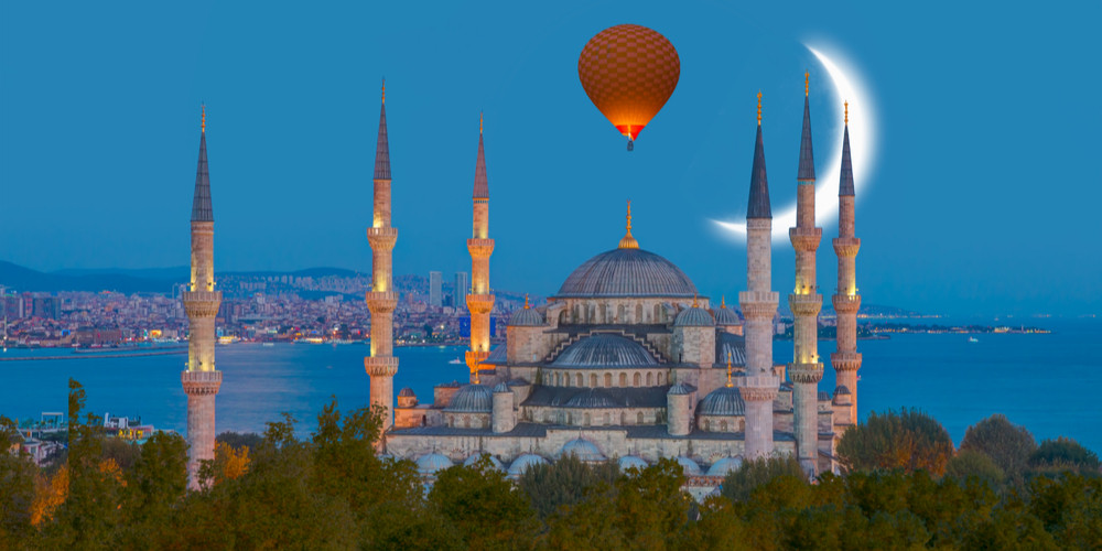 The Blue Mosque with crescent moon