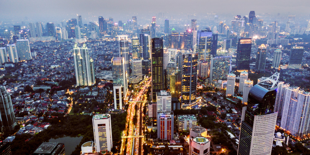 Aerial view of Sudirman central business district in Jakarta