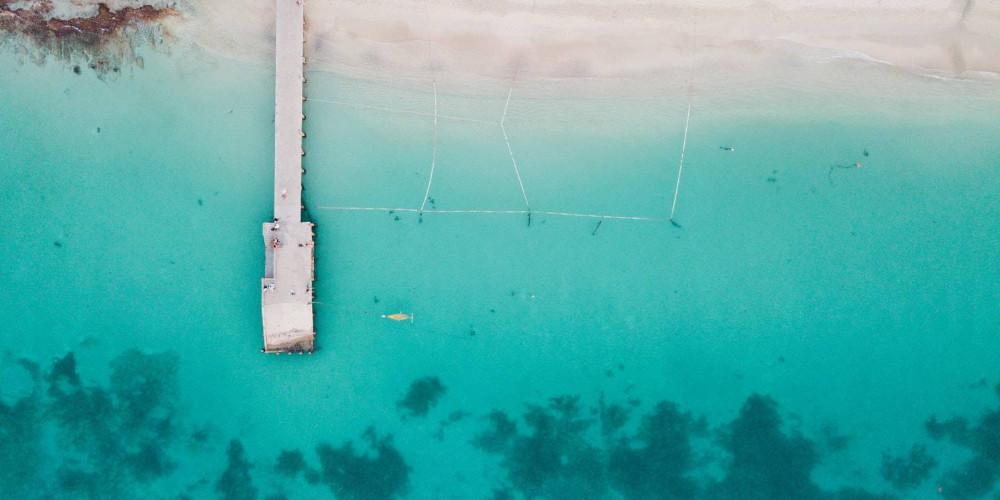 Drone view of a pier, Saint Martin