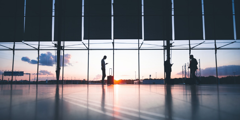 Silhouette of person, airport