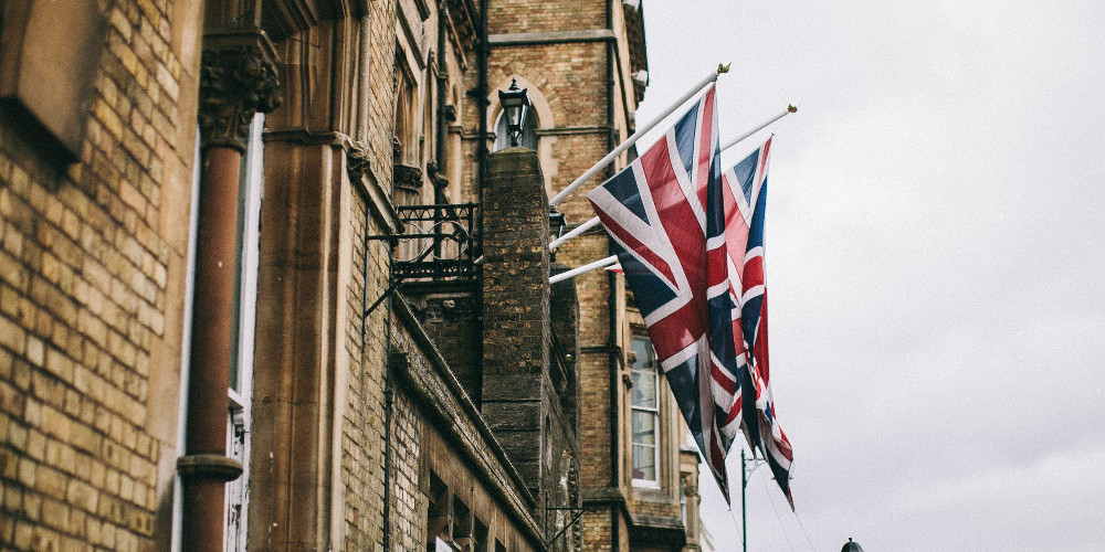 Hanged flags beside building, Oxford, United Kingdom