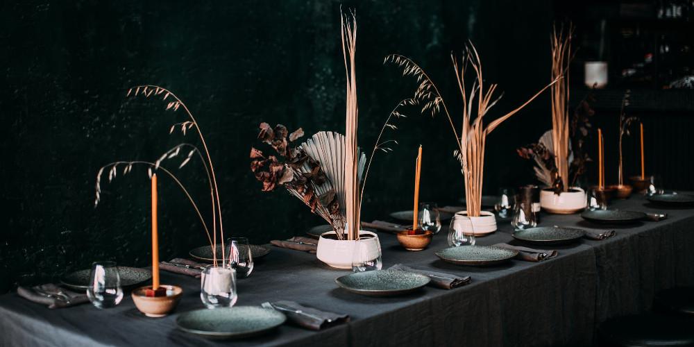 Banquet table in stylish loft restaurant