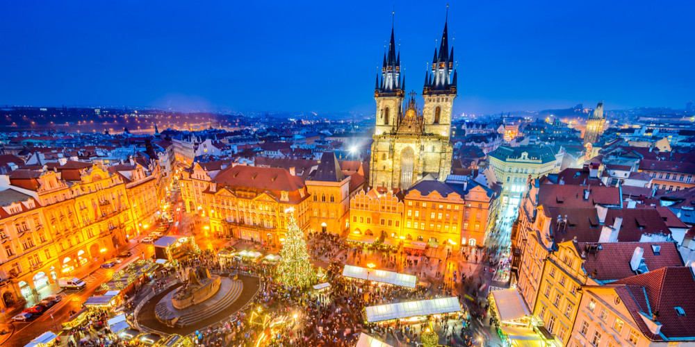 Christmas Market in the old square of Stare Mesto, Prague, Czech Repubilc