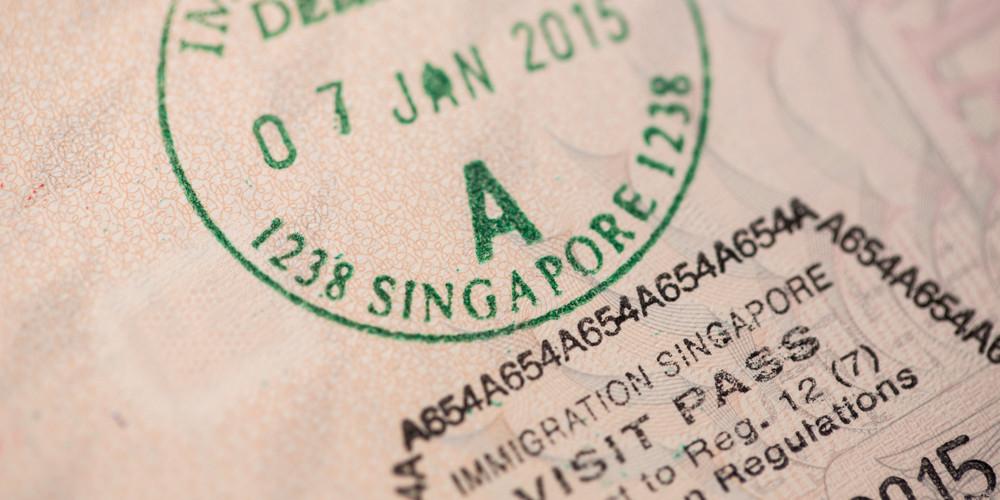 View of a Singapore entry visa on an european passport