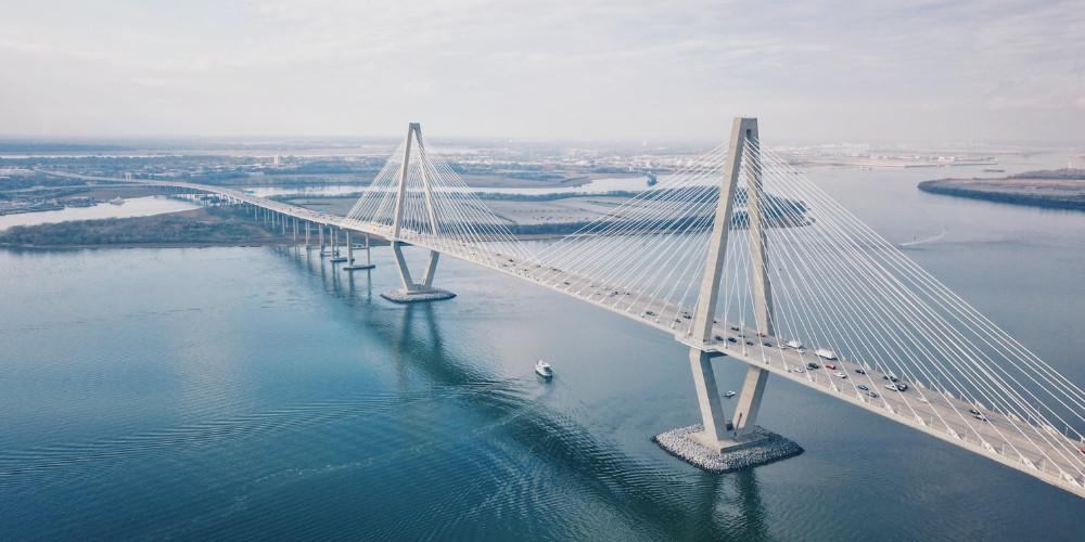 Aerial photo of the bridge