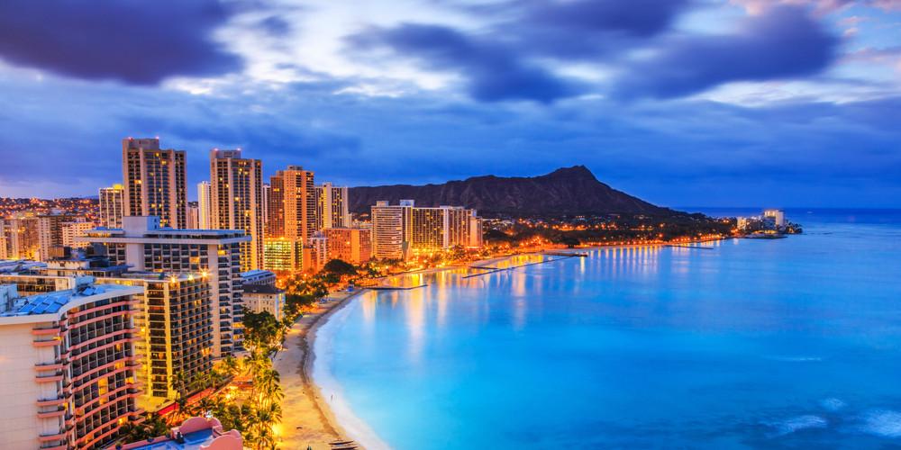 Diamond Head volcano, including Honolulu Skyline, Waikiki Beach hotels and buildings