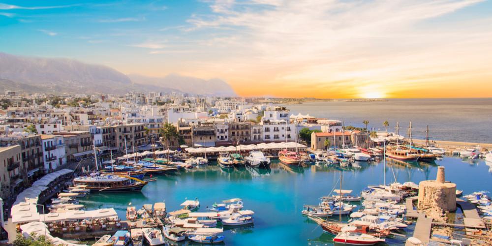 Beautiful view of Kyrenia Bay in Kyrenia, North Cyprus