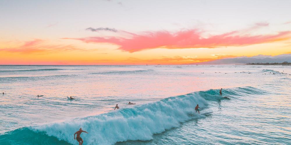 People surfing, American Samoa