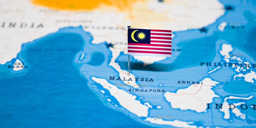 Flag of Malaysia in the world map