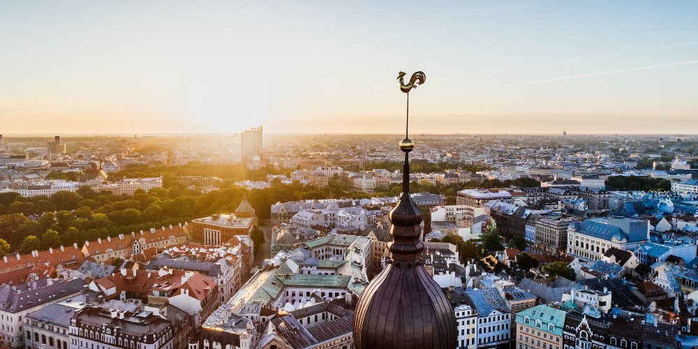 High angle photography of village, Latvia