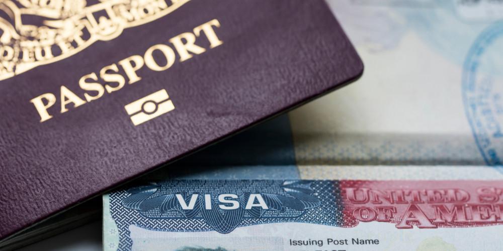 UK visa document and passport