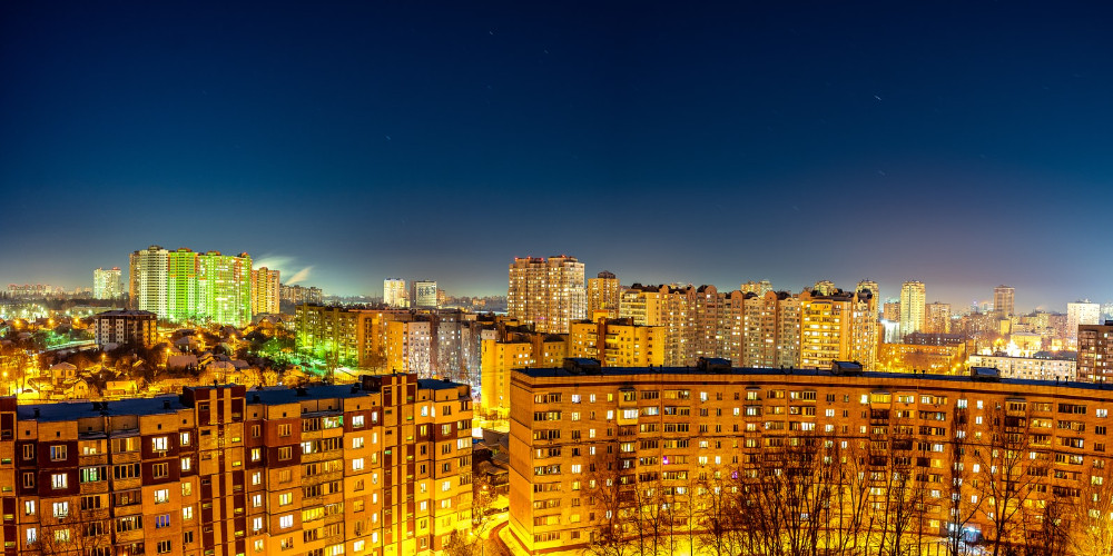 Night panorama of the Kyiv city, Ukraine