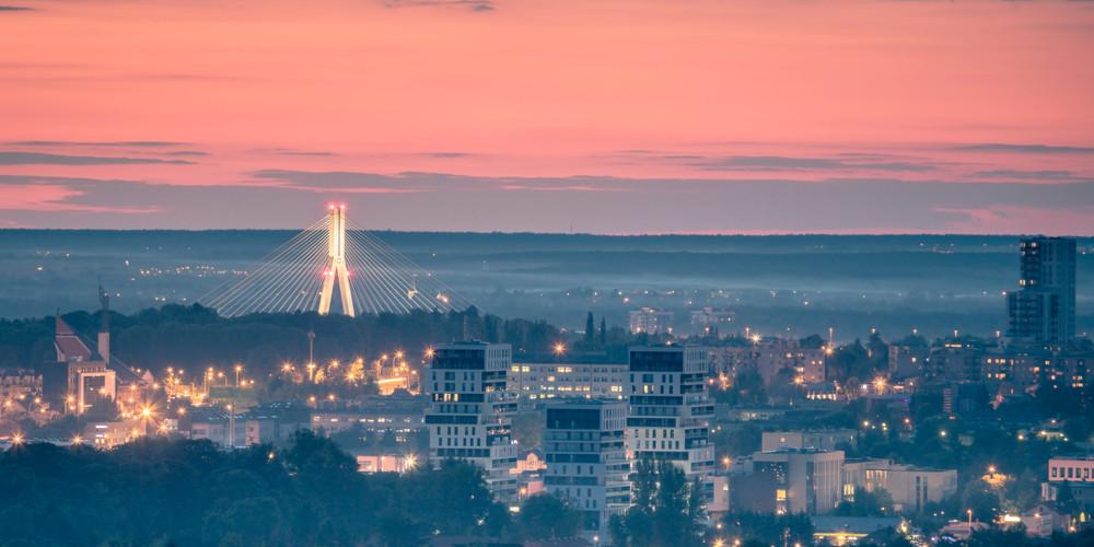 Panorama of Rzeszow at sunset