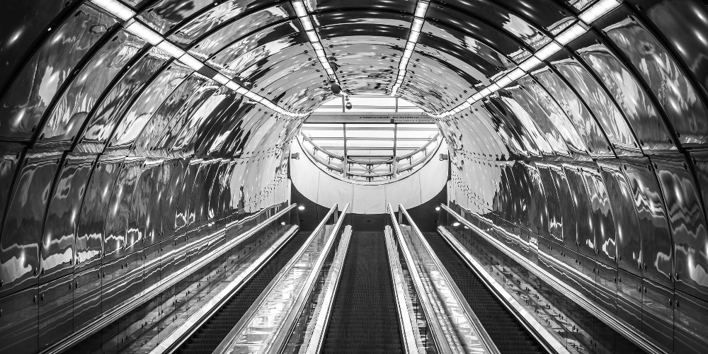 Architecture black and white metro station