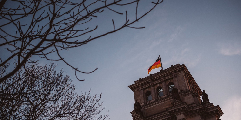 Embassy building with German Flag