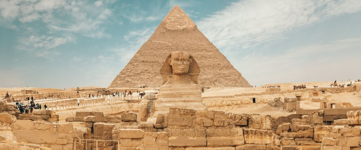 Pyramid and old egypt city