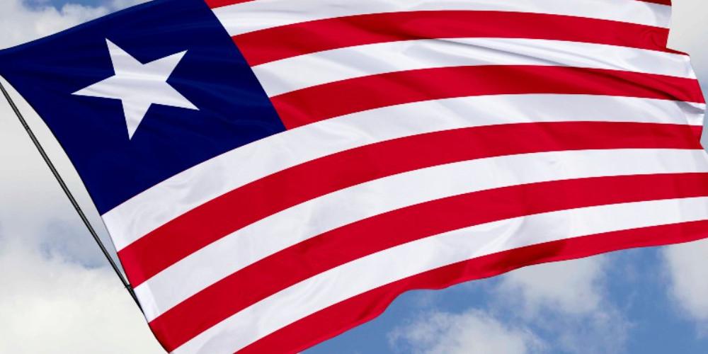 Liberian flag on the sky
