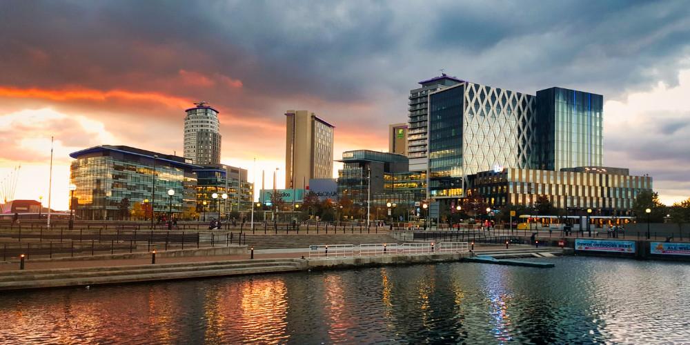 Sunset at MediaCityUK, Manchester