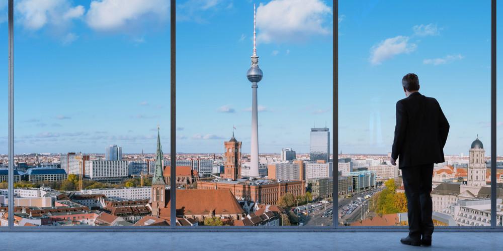 Business man looking onto Berlin city
