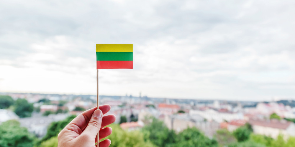 A small Lithuanian paper flag