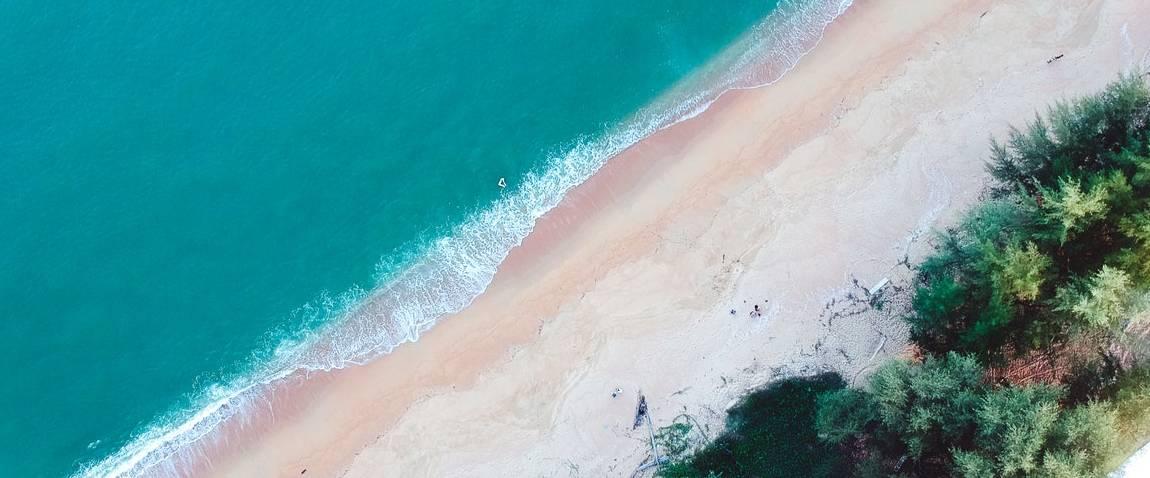 aerial shot of the beach