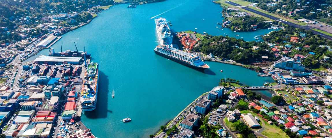 aerial view of saint lucia port