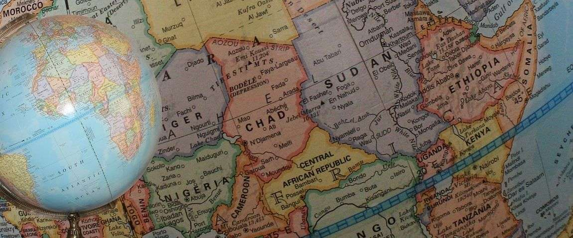 africa map globe