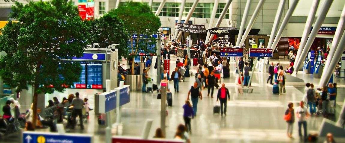 airport terminal full of people
