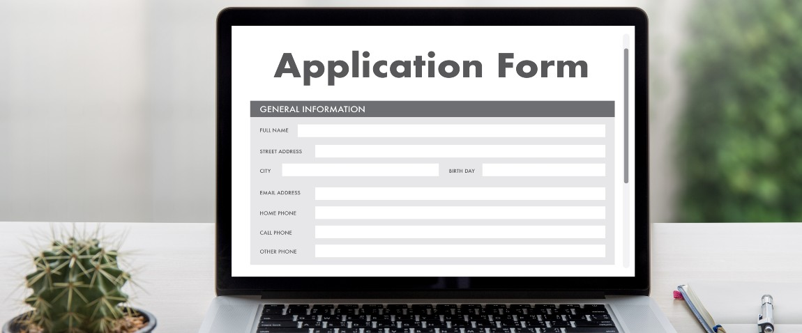 application form on screen