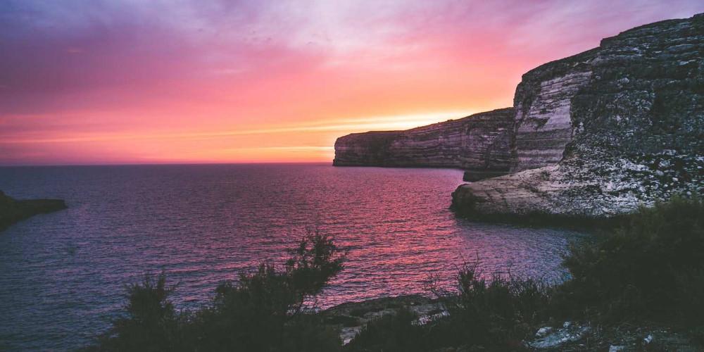 Beautiful sunset at Gozo, Malta