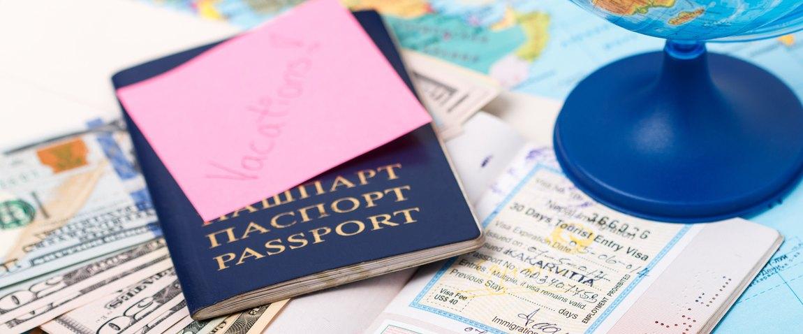 blue passport on the map
