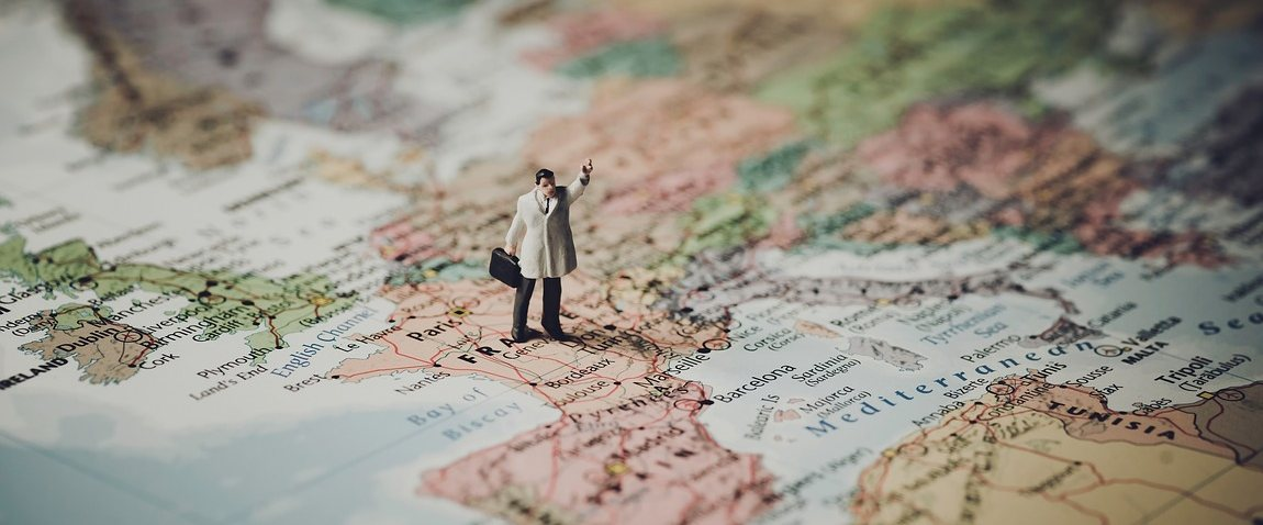 businessman figure on the map