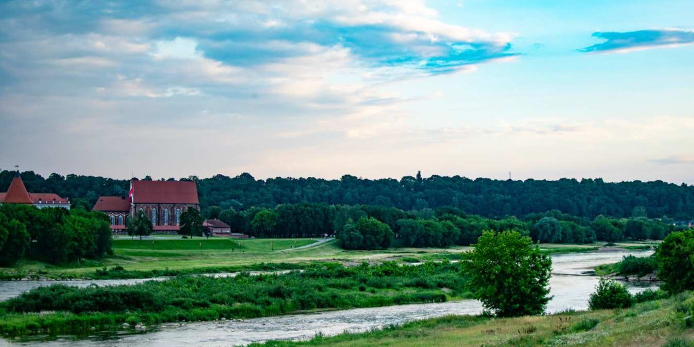 A view of Kaunas castle and Neris river from a bridge