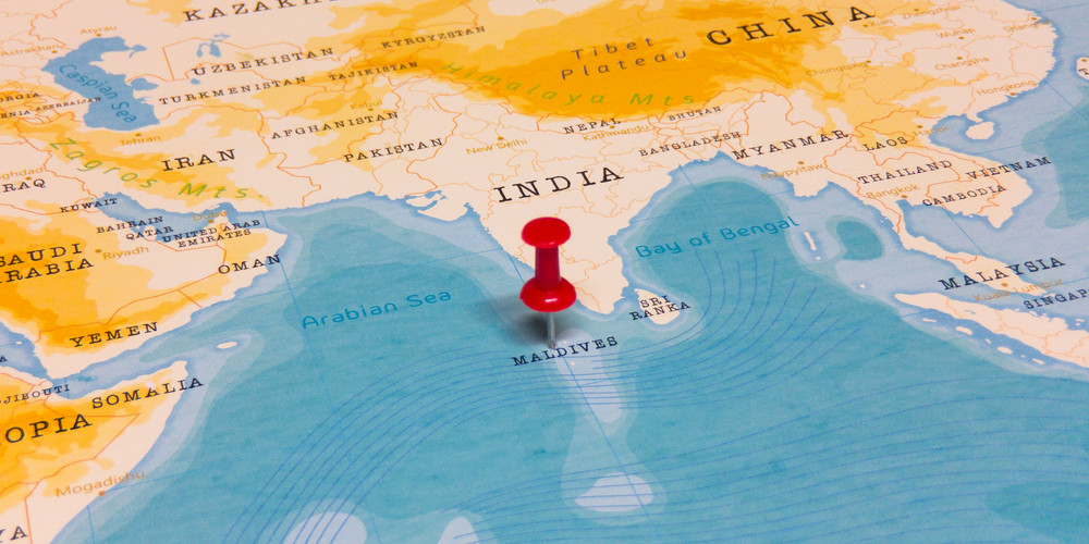 A Red Pin on Maldives of the World Map