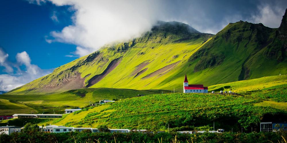 Green field near the mountain, Iceland