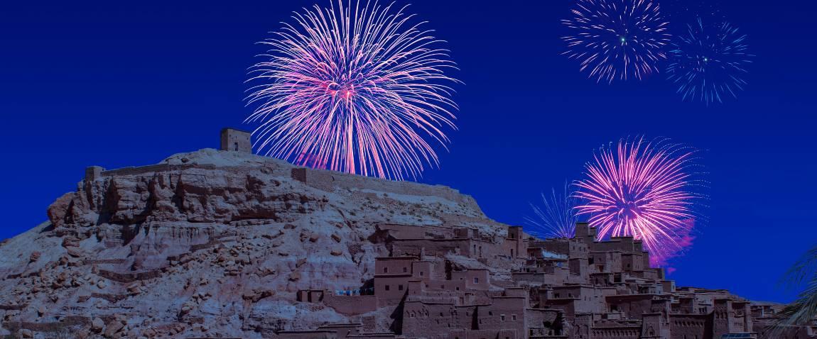 celebratory fireworks for new year