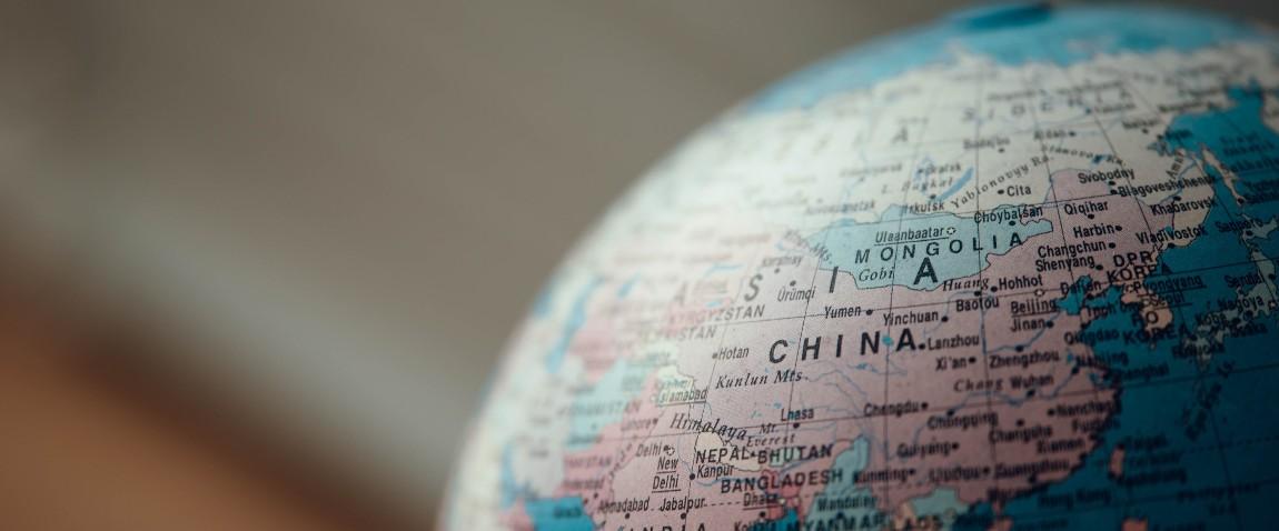 china on the globe