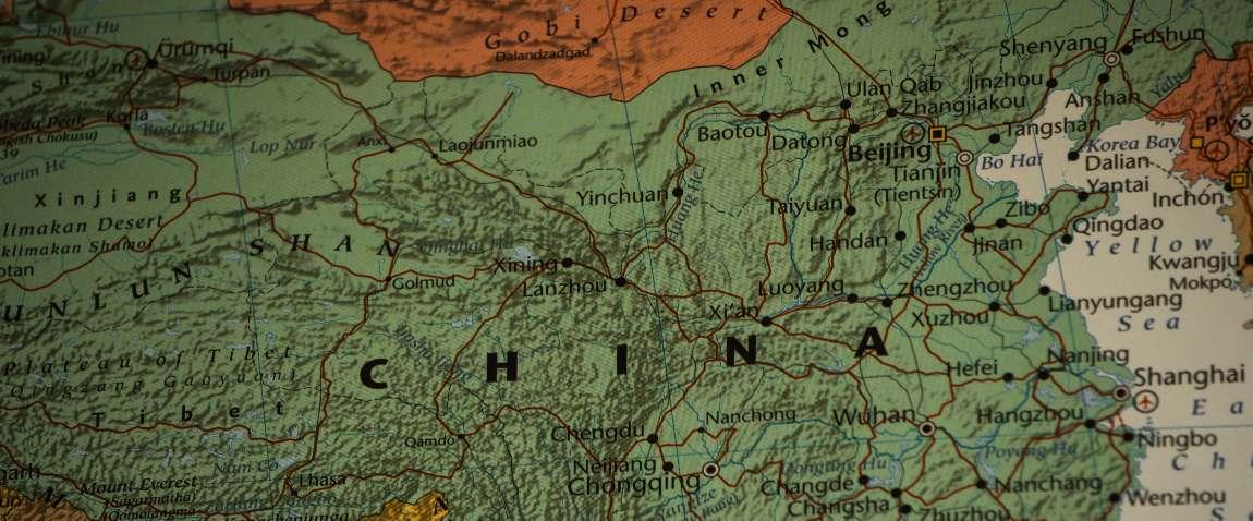 china o the map