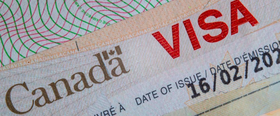 close up canada visa on a passport