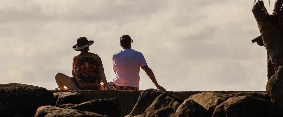 couple watching sky