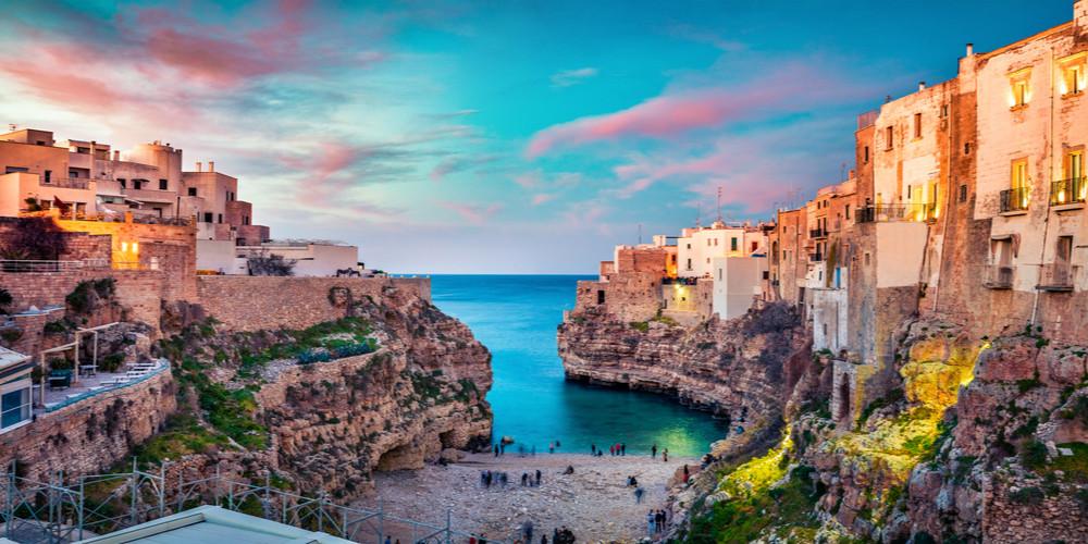 Spectacular spring cityscape of Polignano a Mare town, Puglia region, Italy