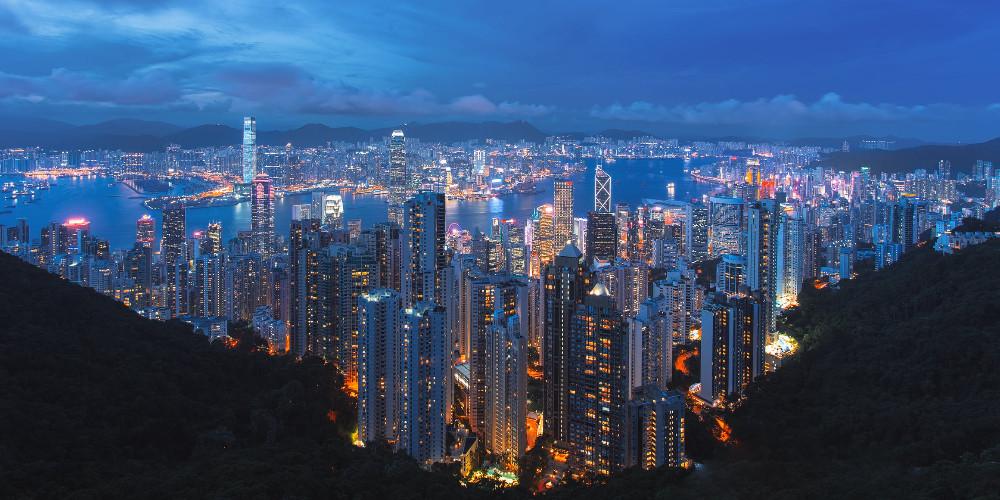 Lighted buildings, Hong Kong