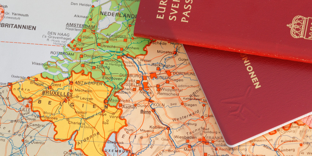 Passport and map of part of middle Europe