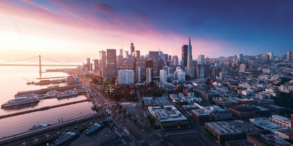 Panorama of San Francisco waterfront and downtown at sunrise