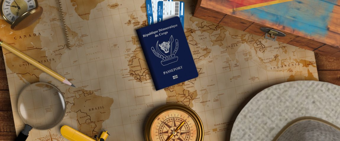 dr congo passport on the map