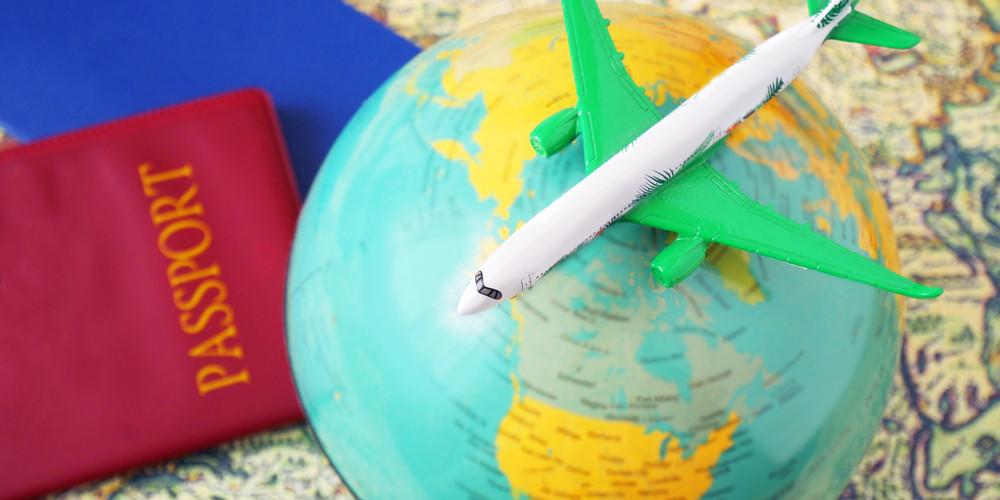Passports, travel map, globe and aircraft, airplane travel concept