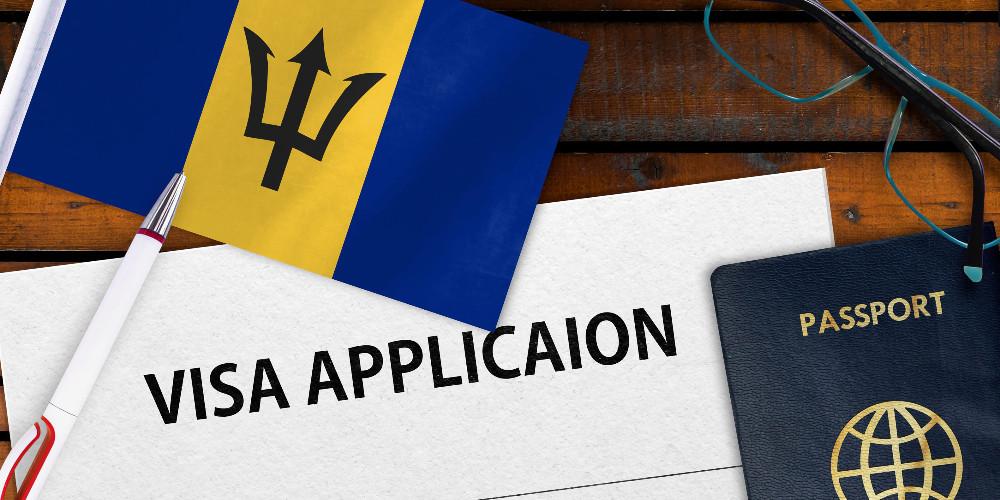 Barbados flag, passport, and visa application