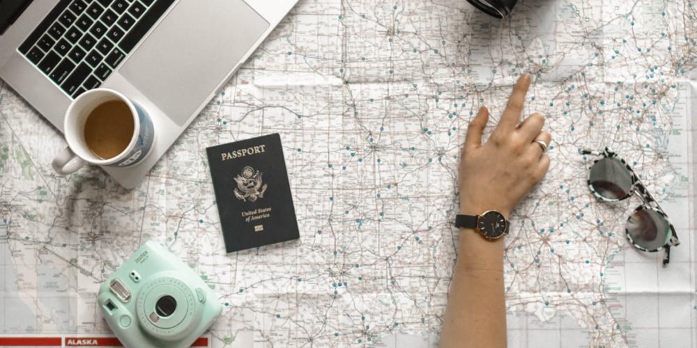 Passport on the map